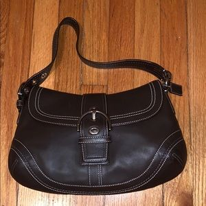 Coach F10910 Brown Leather hobo buckle flap soho